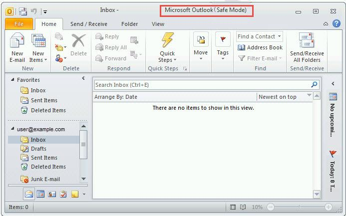 outlook 2010 1 safe mode error open outlook