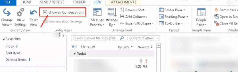 outlook 2013 2 conversation checkbox