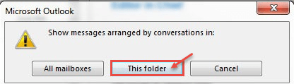 outlook 2013 3 conversation folder
