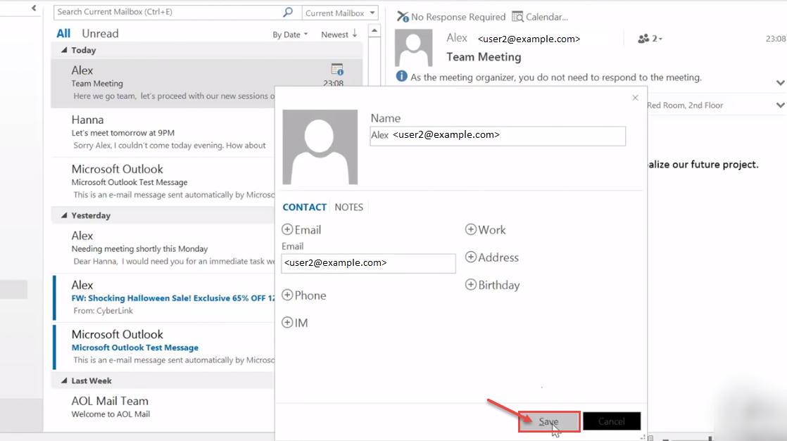 Create appointment from email in Outlook on the web