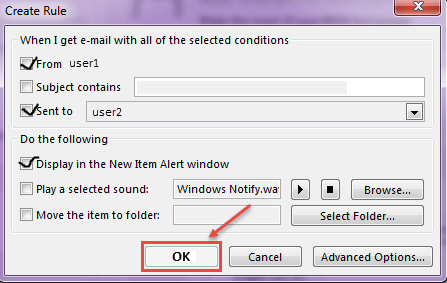 outlook 2016 2 create rules for notifications