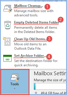 outlook 2016 3 tools options for cleanup