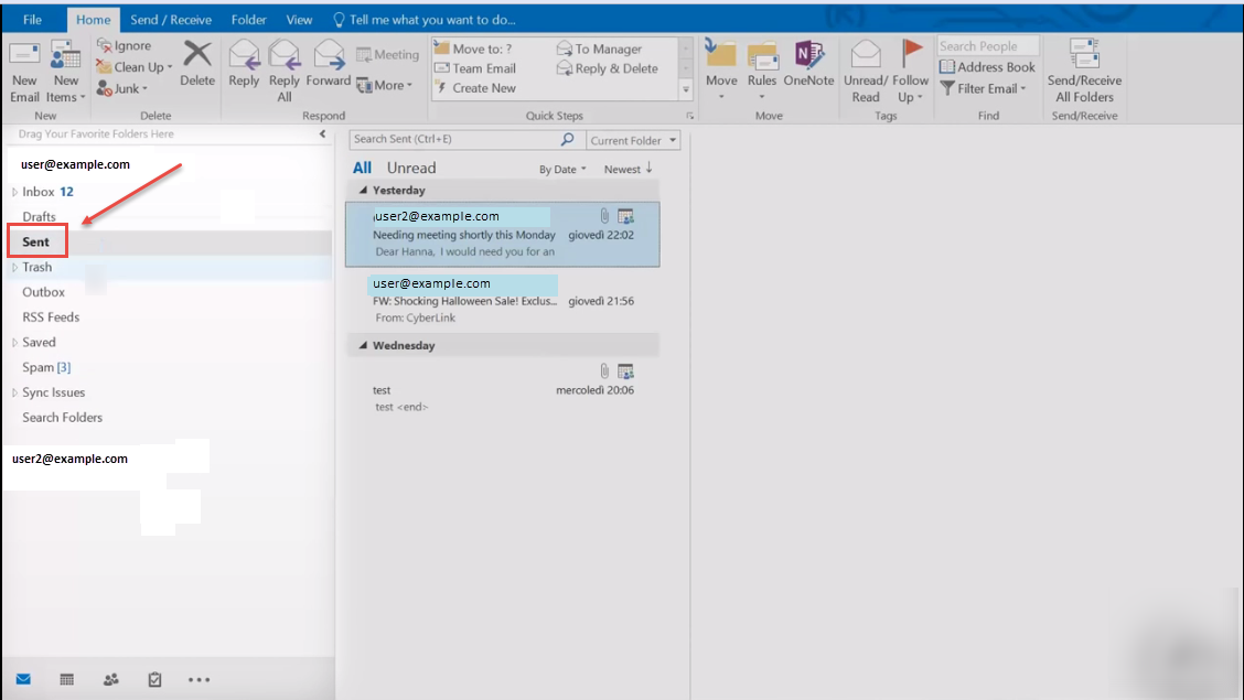 how to delete a sent email in outlook 2016