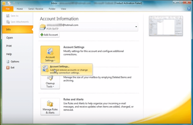 outlook 2010 2 account setting