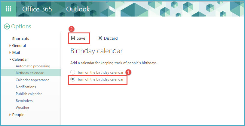 Birthday Calendar In Outlook : How to turn on and off birthday calendar in office