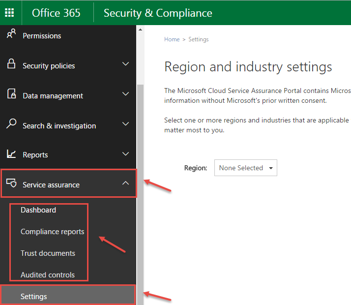 Overview Of Navigation Pane In Office 365 Security And