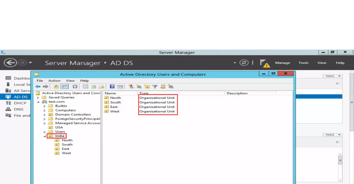 how to delete ou in server 2012