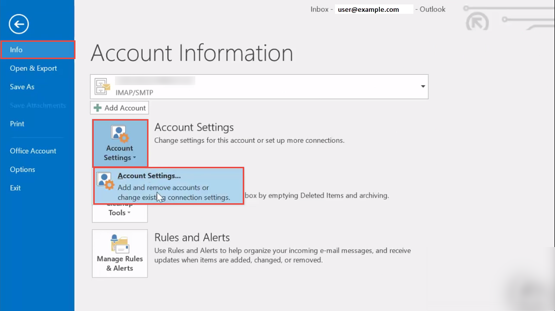 outlook how to change default email account